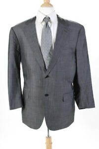 Canali Mens Two Button Up Wool Blazer Suit Jacket Gray Size 42R