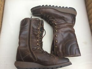 Fly London Ladies Calf Boots Zip & Lace Brown Leather  Size Uk7 EU 41