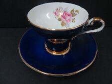 Aynsley Cobalt Blue Corset Style Teacup & Saucer England