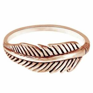 Tribal Feather 14K Rose Gold Over Silver Band Fashionable Ring For Women's