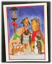 Vintage Mary Badenhop Dogs Cats Singing Carols Christmas Blank Note Card