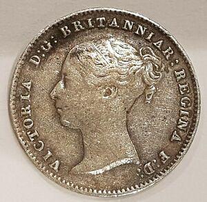 1843 VF Young Head Victoria Three Pence Silver Coin L1