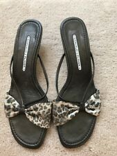 Donald J Pliner Brown Animal Print Fabric Leather Sandals Sz 9 M
