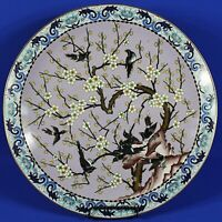 "Large Vintage Japanese Cloisonne Cherry Bloosom w/Birds 15 3/8"" Plate"