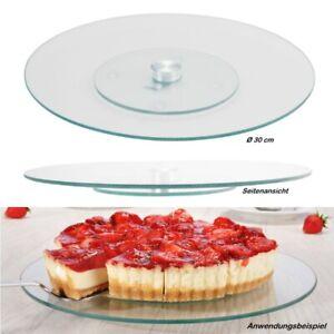 Kuchenplatte aus Glas drehbar Drehteller Kuchen Torten Servierplatte Glasplatte