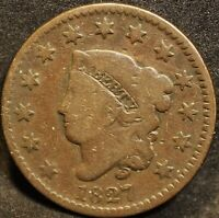 1827 Coronet Head U.S. large cent. VG