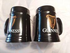 Set of 2 Guinness Black Ceramic Tankard Mug Cup Stein