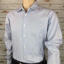 Charles Tyrwhitt Men's Casual Blue Checks Long Sleeve Shirt Large