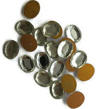 Vintage Cabochons Oval Crystal Foil Flat Back 10x8mm NOS Rhinestones #1166F
