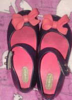 Mini Melissa Blue With Pink Bows Peep Toe  Flats Shoes Sz 9  Cute