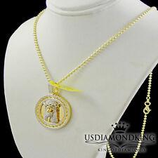 Men's New Mini Designer Jesus Coin Charm Real Genuine Diamond Necklace Chain