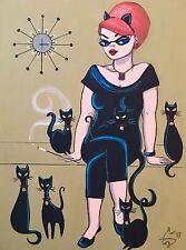 EL GATO GOMEZ RETRO ROCKABILLY BEATNIK PINUP GIRL MID CENTURY MODERN  CATS PRINT