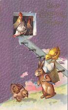 Fantasy Easter~Rabbit Hauls Eggs In Back Basket~Chicken Coop Ladder~Purple Back