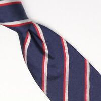 Gladson Mens Silk Necktie Navy Blue White Red Repp Stripe Weave Woven Tie Italy
