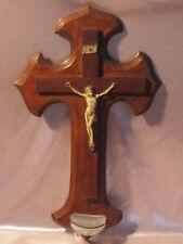 Antiguo crucifijo pila de agua bendita cristal cruz madera objeto de devoción