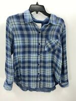 Rails Womens Size XS Extra Small Blue Plaid Long Sleeve Button Down Shirt