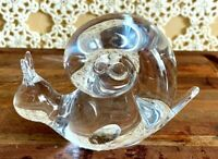 Vintage Hand Blown Snail paperweight, crystal clear glass snail, Wedgewood Label