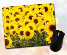 Flower Mouse Pad • Sunflower Field Sunny Yellow Nature Decor Desk Accessory