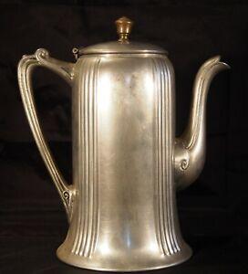 Vintage Art Nouveau Pewter Coffee Pitcher Server Pot with brass finial