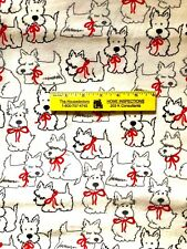 SCOTTIES  WITH  RED  BOWS   COTTON  FLANNEL   $4.50  Yard