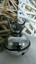 clayre & eef Nostalgia Pájaro Campanas Metal Pájaro Decorativo Plata Shabby Chic