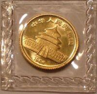 1984 1/20 OZ CHINESE GOLD PANDA 5 YUAN