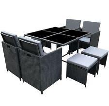 Outdoor Garden Furniture Set Wicker Conservatory Patio PolyRattan Cube 9Pc Black