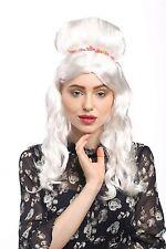 Perruque Femmes Pince fleur Blanc avec anglaises longue Princesse Noble Fee
