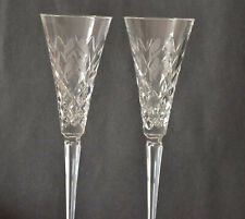 WATERFORD CRYSTAL CHAMPAGNE FLUTES '' FOUR CALLING BIRDS'' SET OF 2