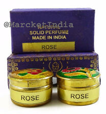 Natural Rose Solid Perfume Body Musk in Mini Brass Jar, Made in India-4gm