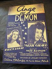 Partition Ange ou Démon Evelyn Dorat Yvette Giraud Film Nuit Blanche 1948