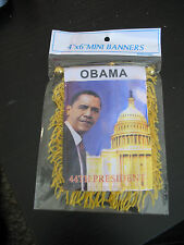 """Obama 44th President Mini Flag 4""""x6"""" Window Banner w/ suction cup A1"""