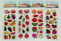 3D Sticker lustige Früchte 1-20 Folien Aufkleber Puffy Obst Kinder Küche Gemüse