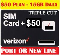 Verizon Wireless Sim Card 4G LTE includes First Month $50 plan for Free