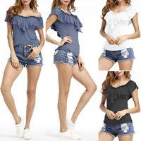 Lady Women Short Sleeve Loose Blouse Summer V Neck Casual Shirt Tops T-shirt Tee