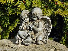 Engel - 2Engel mit Herz - Antikpatina - Schutzengel Skulptur Grabengel Steinguss