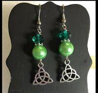CELTIC TRINITY KNOT GREEN Wire Earrings Jewelry Pair - US Handmade SALE