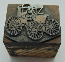 Vintage Printing Letterpress Printers Block Antique Car With Wagon Like Wheels