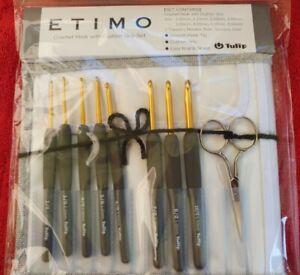 Tulip Etimo Silver Crochet Hooks - Set of 8 hooks - scissors, case,ruler TES-002