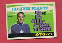 1971-72 OPC  # 256 LEAFS JACQUES PLANTE  ALL STAR TEAM  CARD