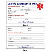 Medical Emergency wallet card for Medical Alert Id bracelets and Dog Tags.