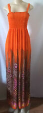 PEACOCK MAXI LONG DRESS ELASTIC TOP BOHEMIAN ORANGE BROWN STRAPS BORDER S,M