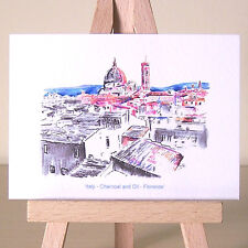 Florence Italy cityscape drawing ACEO art card ~ brilliant pink and yellow