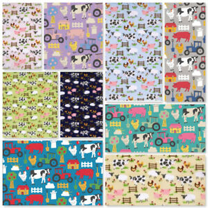 Tractor Farm Animals Horses Sheep Cow Pig Chicken Polycotton Fabric Bunting Sew