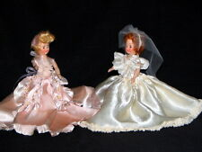 "Doll Set 7 1/2"" Dutchess Doll Corp1948 Bride & Maiden Red hair bride Blonde Maid"