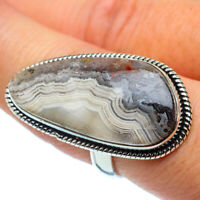 Large Laguna Lace Agate 925 Sterling Silver Ring Size 8.25 Jewelry R38071F