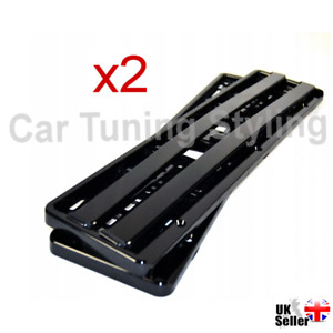 2 X BLACK SUPER GLOSS Car Number Plate Surround Holder FOR ANY CAR VAN