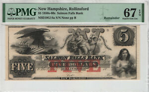 1850 $5 SALMON FALLS BANK ROLLINSFORD NEW HAMPSHIRE OBSOLETE REMAINDER PMG 67 Q