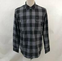 Obey Men's LS Woven Button Down Shirt Drifter Charcoal Size M NWT Shepard Fairey