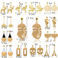 Retro Art Abstract Cutout Face Dangle Drop Gold Earrings Lady Hollow Jewelry